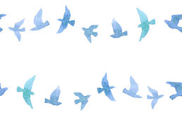Cute seamless border with naive watercolor birds Stock Photos
