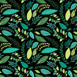 Cute seamless botanical pattern with hand drawn green leaves Royalty Free Stock Image