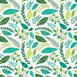 Cute seamless botanical pattern with hand drawn green leaves. For your decoration Stock Photos