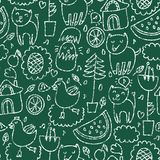Cute seamless chalkboard pattern. This is file of EPS8 format Stock Photography
