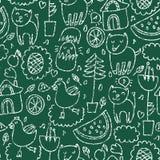 Cute seamless chalkboard pattern Stock Photography