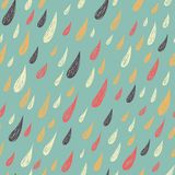 Cute seamless childish texture.  Rainy pattern. Endless ornamental pattern with drops on pa blue background. Stock Photos