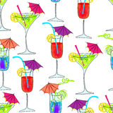 Cute seamless cocktails background Royalty Free Stock Image