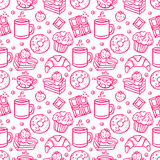 Cute seamless coffee and desserts icons Stock Photography