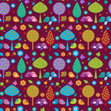 Cute seamless decorative background with birds in the forest Stock Photo
