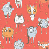 Cute seamless doodle pattern with lovely hand drawn monsters, dots and stars on red background. Vector imperfect illustration with Royalty Free Stock Image