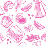 Cute Seamless fashion pink water-colour. Seamless pattern with shoes. Fun for teenagers Royalty Free Illustration