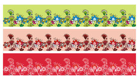 Cute seamless floral backgrounds set Royalty Free Stock Image