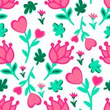 Cute seamless floral love doodles pattern. Hearts, leaves, flowers vector background Royalty Free Stock Image