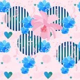 Cute seamless floral ornament with hearts, music symbols and simple geometric elements in memphis style in vector. On light pink background. Print for fabric stock illustration