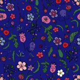 Cute seamless floral pattern with berries, herbs and flowers in doodling style. vector illustration