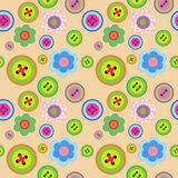 Cute seamless floral pattern with flowers and buttons. Cute seamless floral pattern with a flowers and buttons Stock Photos