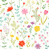 Cute seamless floral pattern with spring flowers. Stock Image