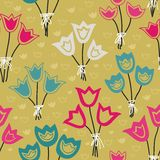 Cute seamless floral pattern with tulips on pastel background. Vector illustration. Endless pattern. Use for wallpaper, pattern fills, web page background Stock Photos