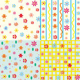 Cute seamless floral patterns set Royalty Free Stock Images