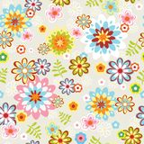 Cute seamless flower pattern line art Stock Image