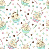 Cute seamless frozen yogurt pattern. Sweet cold desserts vector design. Royalty Free Stock Images