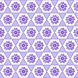 Seamless geometric floral background pattern purple white stock illustration