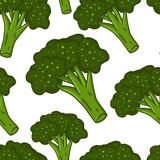 Cute seamless hand drawn broccoli background Stock Photos