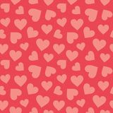 Cute seamless hearts pattern coral red. Cute seamless hipster hearts background in coral and blush pink. Minimal seamless love pattern for Valentine`s Day royalty free illustration