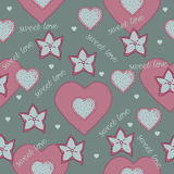Cute seamless with hearts and stars. Vector illustration. cute romantic seamless with hearts and stars Stock Photo