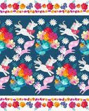 Cute seamless horizontal pattern with fantasy animals and birds and decorative floral frame. Unicorn, little fox and pigeon. With tail in form of bouquet of royalty free illustration