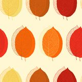 Cute seamless leaf autumn pattern in vector Royalty Free Stock Photo