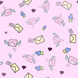 Cute seamless love pattern with mail, wind and post stamps on pink color. Hand drawn in doodle, cartoon style illustrations. Backg. Round texture design for web vector illustration