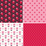 Cute seamless love patterns in pink and red Royalty Free Stock Images