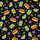 Cute seamless macaroon space pattern vector illustration