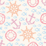 Cute seamless marine background Royalty Free Stock Image