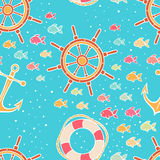 Cute seamless marine background - 2 Stock Images