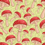 Cute seamless mushrooms pattern Stock Photo