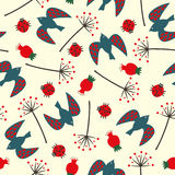 Cute seamless nature pattern with birdie, ladybug, rose hip, dandelion. Stock Images