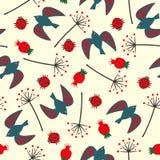 Cute seamless nature pattern with birdie, ladybug, rose hip, dandelion. Summer botanical illustration. Natural decorative background Stock Images