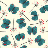 Cute seamless nature pattern with butterfly and dandelion. Stock Photo