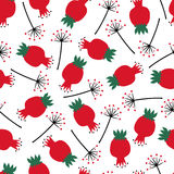 Cute seamless nature pattern with rose hip and dandelion. Summer botanical illustration. Natural decorative background Royalty Free Stock Images