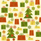 Cute seamless new year pattern with Christmas tree Stock Image