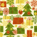 Cute seamless new year pattern with Christmas tree Stock Photo