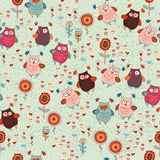 Cute seamless owl background patten for kids Royalty Free Stock Photos