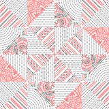 Cute seamless patchwork pattern. Ethnic motives. White, gray and pink. Vector illustration royalty free illustration