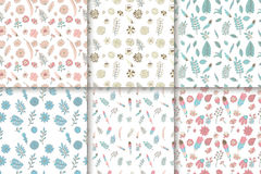 Cute seamless pattens set. Royalty Free Stock Image