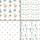 Cute seamless pattens set. Boho style children design. Vector hand drawn illustrations Stock Photo