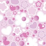 Cute seamless pattern. With hearts, flowers and sewing buttons Royalty Free Stock Photo