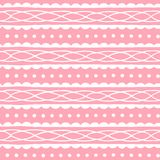 Cute seamless pattern with abstract ornament on soft pink background. Vector texture. Royalty Free Stock Photo