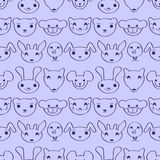 Cute seamless pattern with animal faces Stock Images