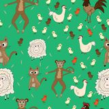 Cute seamless pattern with animals Royalty Free Stock Photos