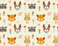 Cute seamless pattern with animals and flowers Royalty Free Stock Photo