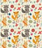 Cute seamless pattern with animals and flowers Stock Photos