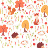 Cute seamless pattern with autumn animals Stock Photos